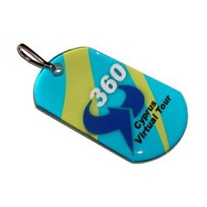 Dog Tag with Zipper Pull and Double Sided Imprint and Dome